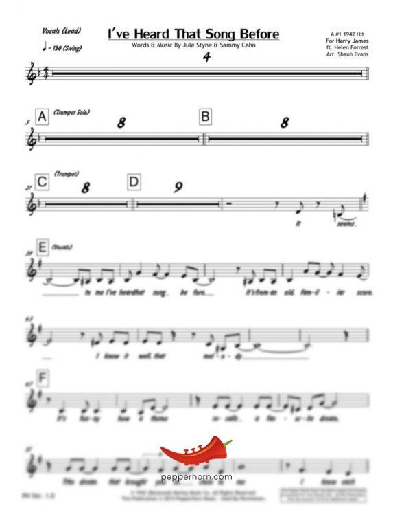 I've Heard That Song Before (Harry James) 4 Horn Bari