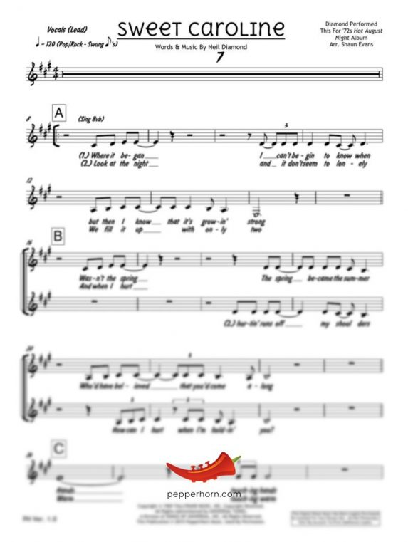 Sweet Caroline (Neil Diamond) 4 Horn Alto