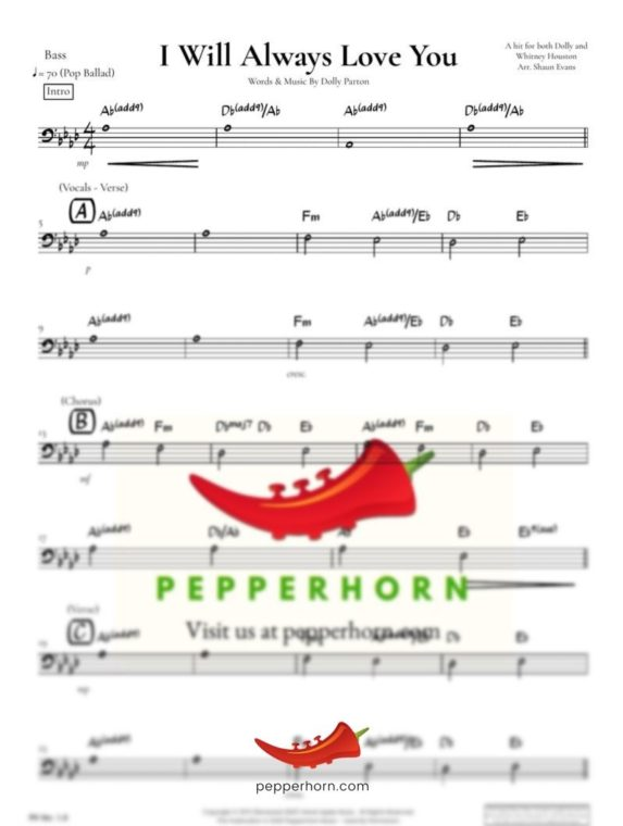 I Will Always Love You by Dolly Parton - Bass part preview from pepperhorn.com