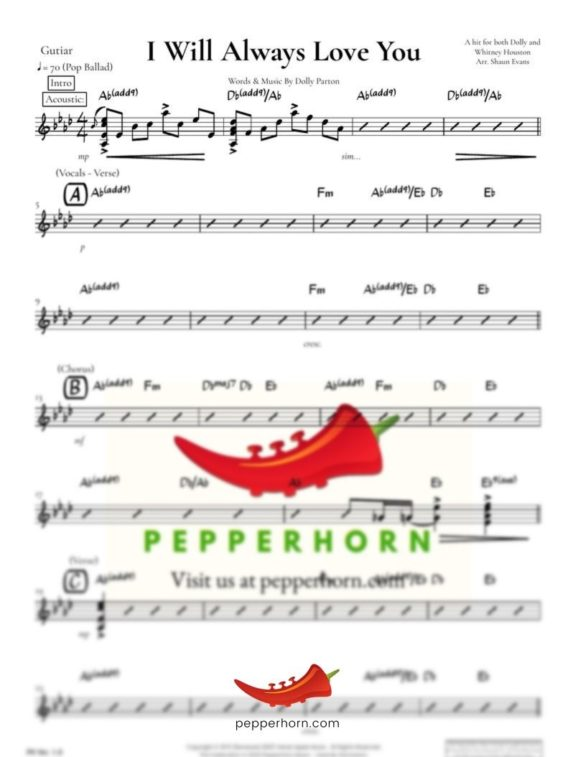 I Will Always Love You by Dolly Parton - Guitar part preview from pepperhorn.com