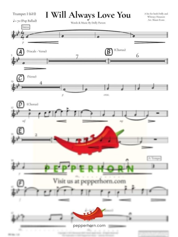 I Will Always Love You by Dolly Parton - Trumpet part preview from pepperhorn.com